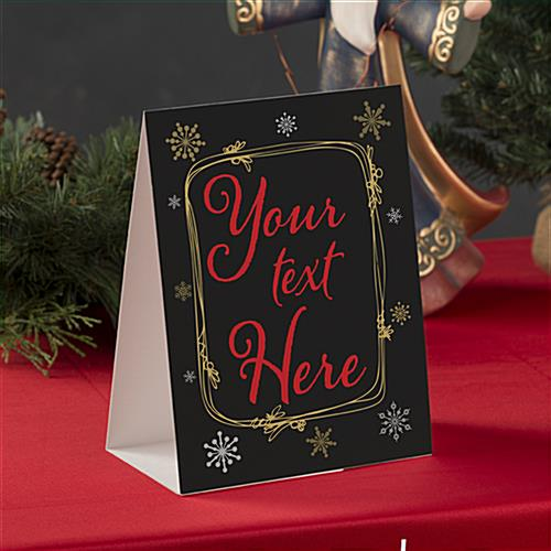 Custom text holiday table tent with double sided print