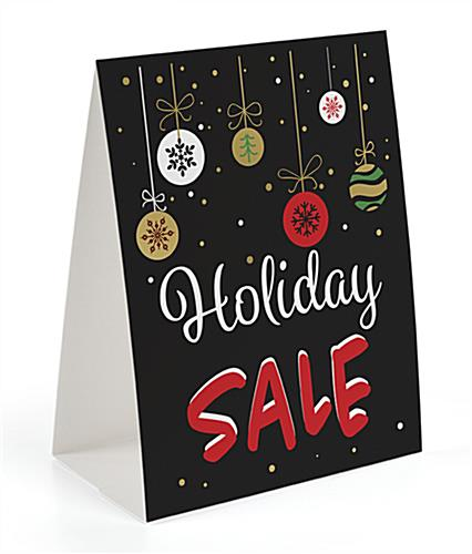 Seasonal tabletop promo sign with chalkboard style design