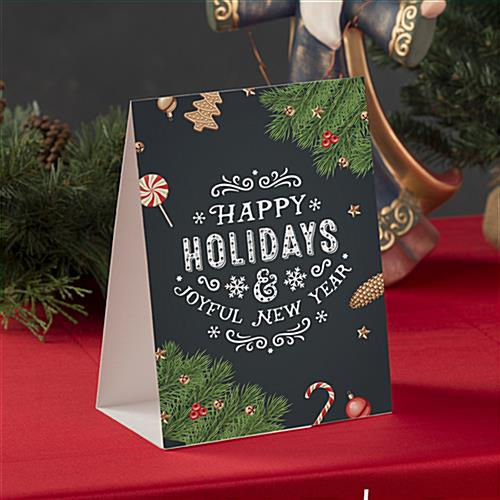 Happy holidays chalkboard printed table tent with stock messaging