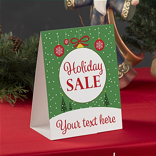 """Holiday Sale"" paper table tent 8.5"" x 11"""