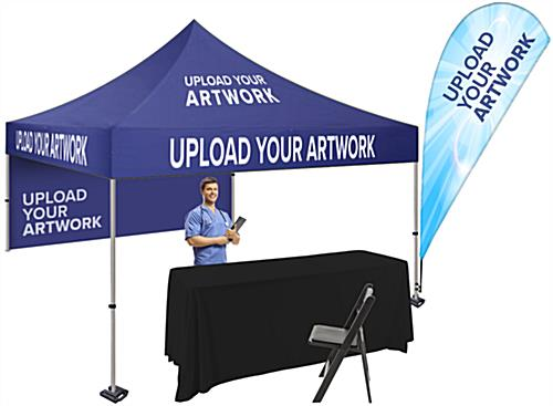 Advertising canopy tent and table kit with custom artwork