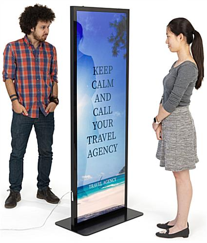 Double sided illuminated floor poster stand