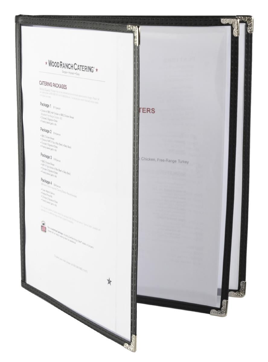 Black Restaurant Menu Covers 6 Sheet With Silver Corner