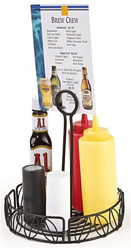 condiment caddy for tables with menu clip