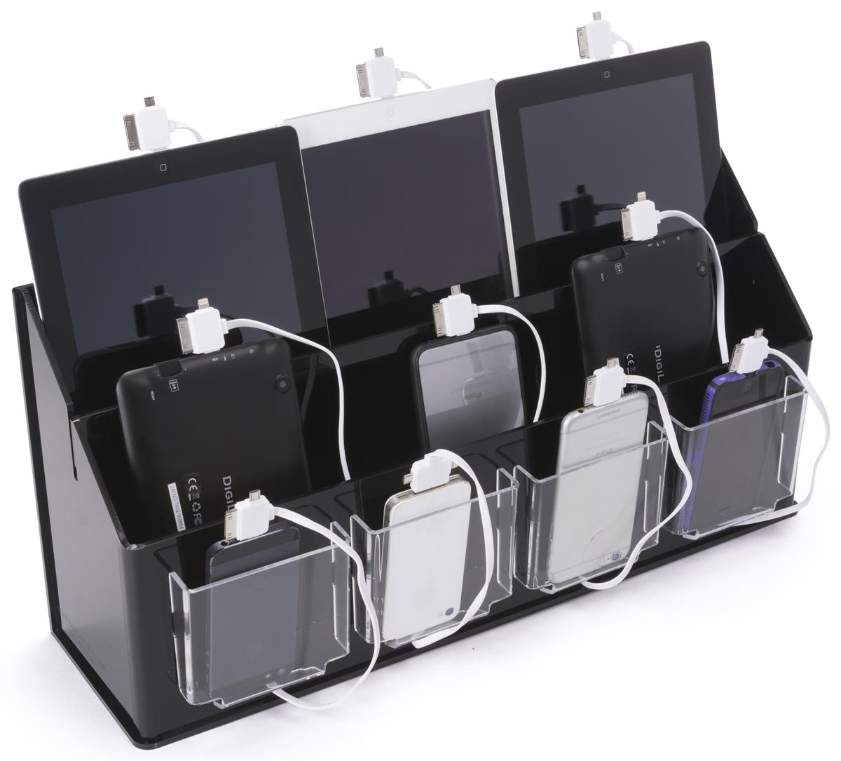 Multi Device Charging Station Organizer Black Amp Clear