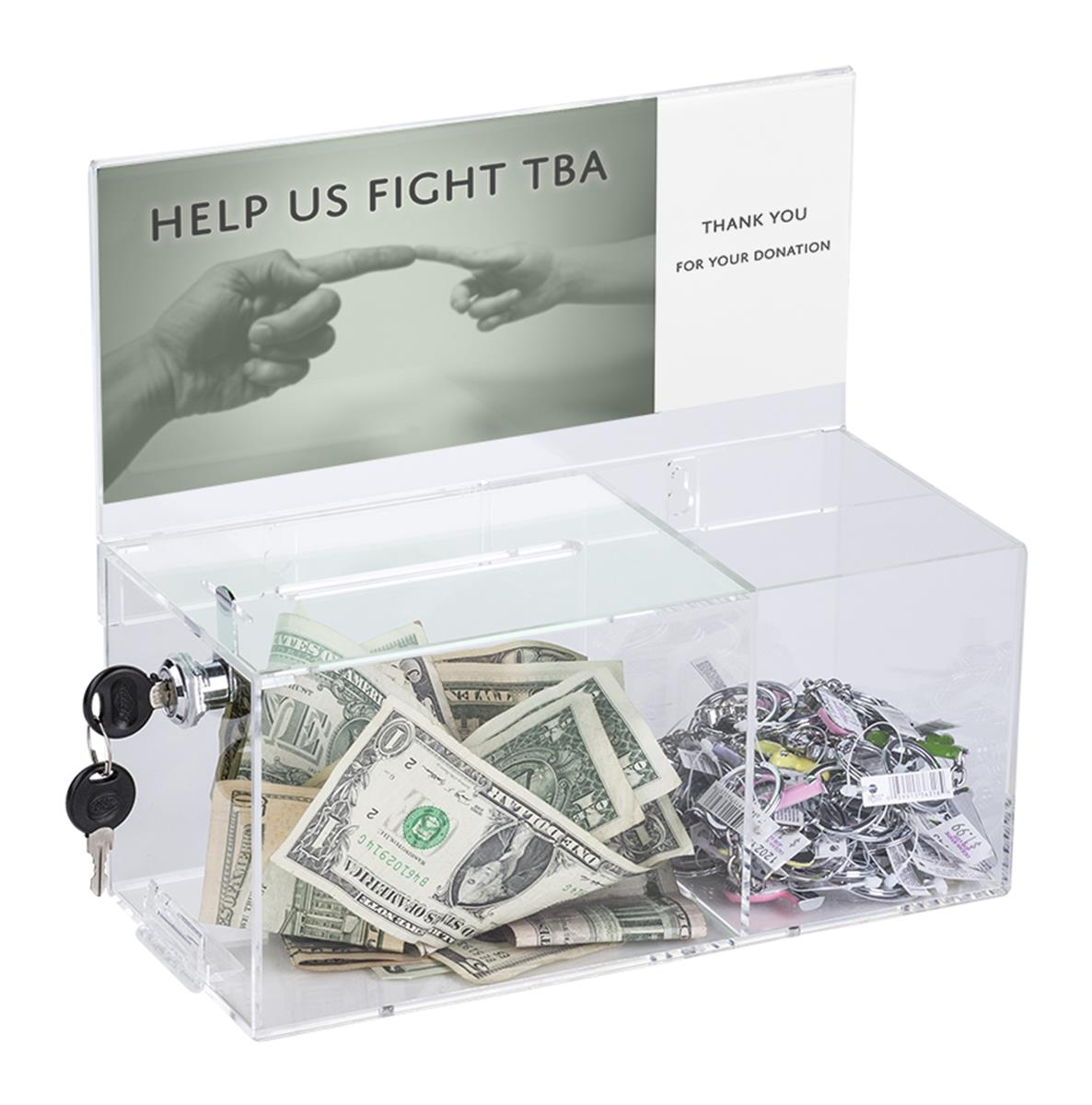 Charity Box With Treat Compartment Countertop Or Wall Mount