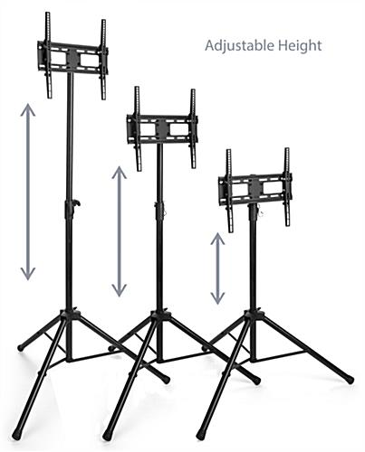 Adjustable height portable TV stand with tripod legs