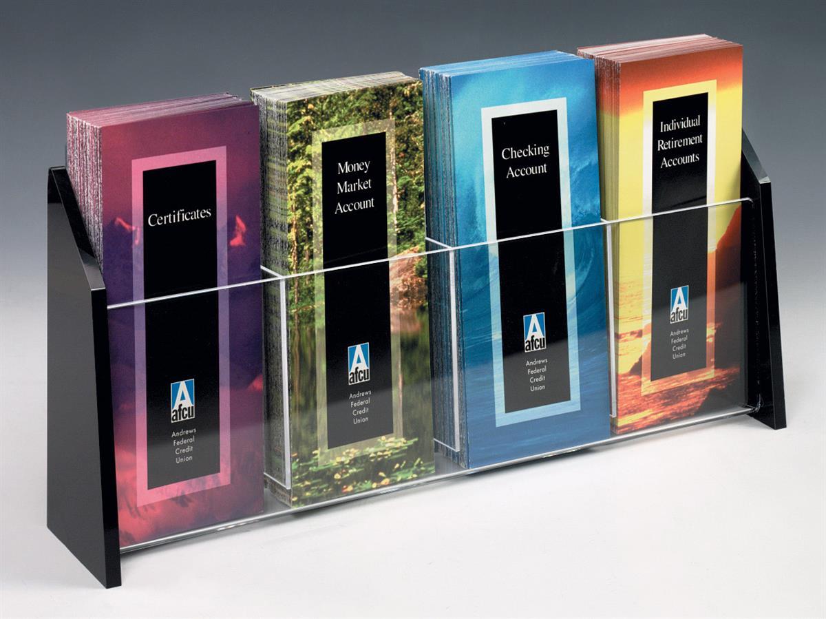 Modern brochure display multi pocket flyer holder for Plastic flyer stand