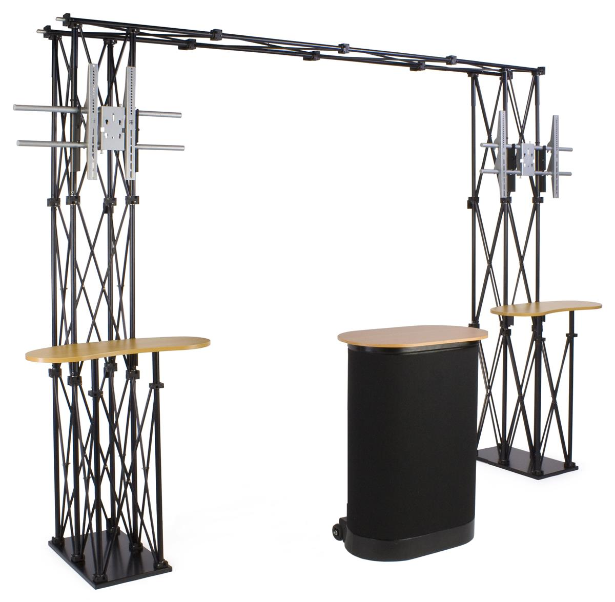 Displays2go Trade Show Truss Booth w/ Shelves, 2 Counters...