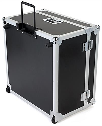 Trade show floor tile carrying case upright on wheels