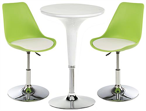 White Bar Lounge Chair and Table, Great for Cafes
