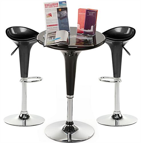 Black Trade Show Table & Stool Set for Expo Booths
