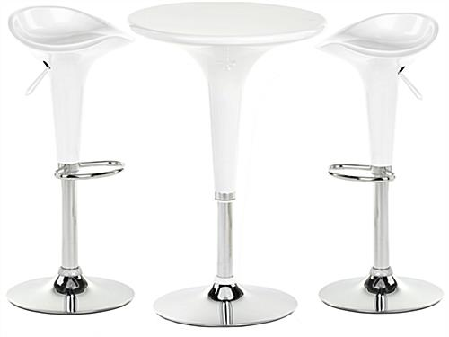 White trade show table stool set height adjustable for Round cocktail table with stools