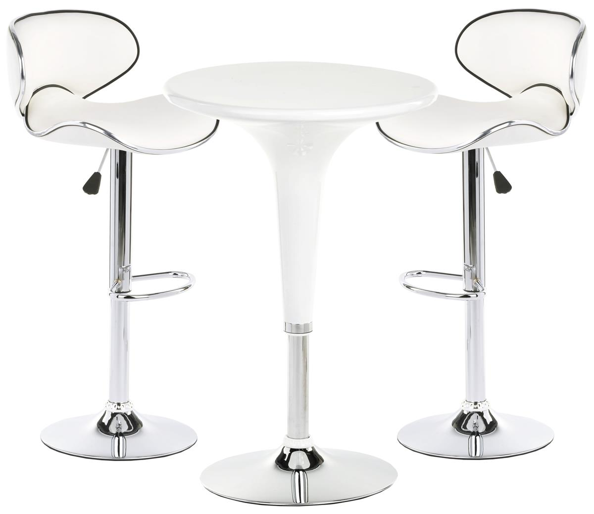 Pub Table Set with 112 Round Cocktail Table, 12 Adjustable Leatherette Stools    White