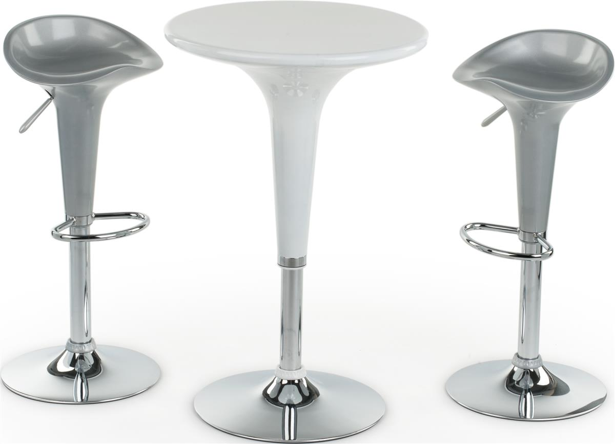 Displays2go Pub Set with 1 White Round Cocktail Table & 2...