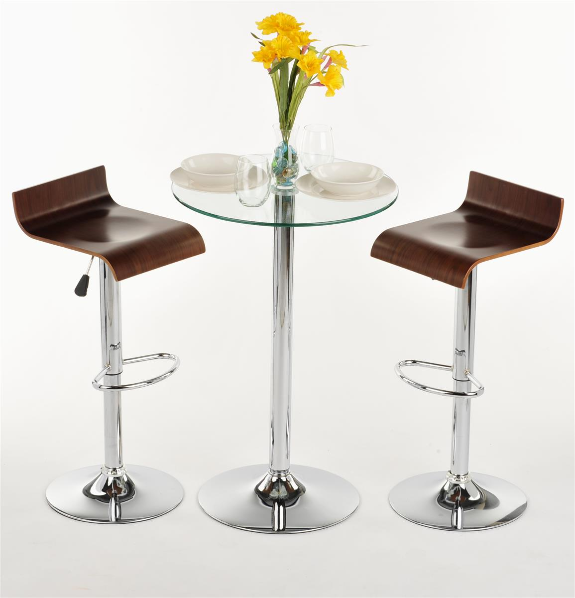 Gl High Top Table And Chairs Modern Furniture For Dining