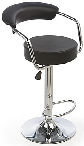 Black Hydraulic Bar Stool And Table Set Leatherette Seats