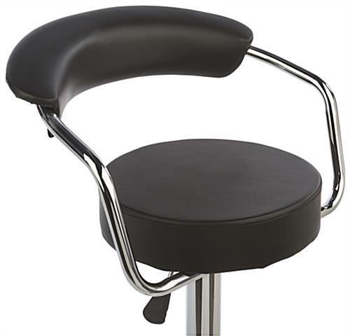 Black Hydraulic Bar Stool and Table Set Made of Leatherette & Chrome