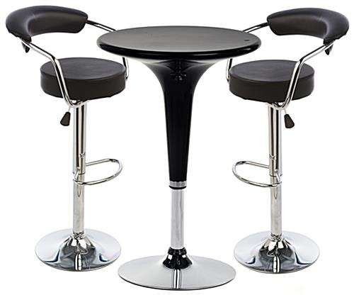 Black Hydraulic Bar Stool and Table Set with Modern Design