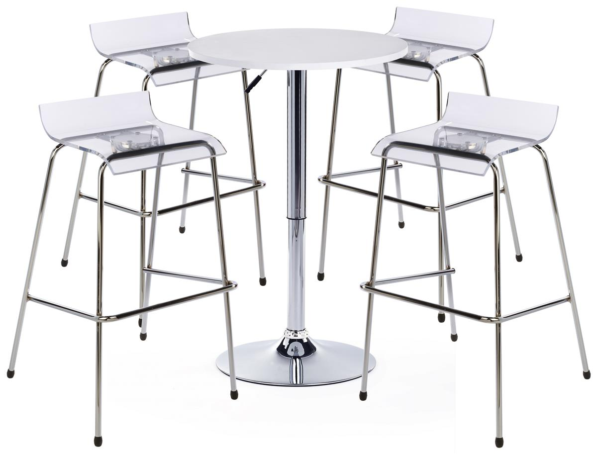 Pub Table Set with 12 Round Cocktail Table, 12 Acrylic Stools   White