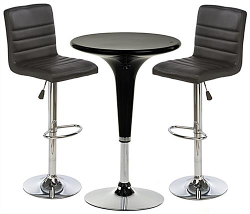 Black Gas Lift Chair and Table Set with Chrome Accents