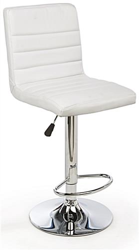 White Gas Lift Chair and Table Set with Cushioned Seats