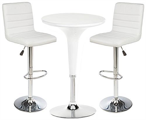 White Gas Lift Chair and Table Set for All-Day Comfort