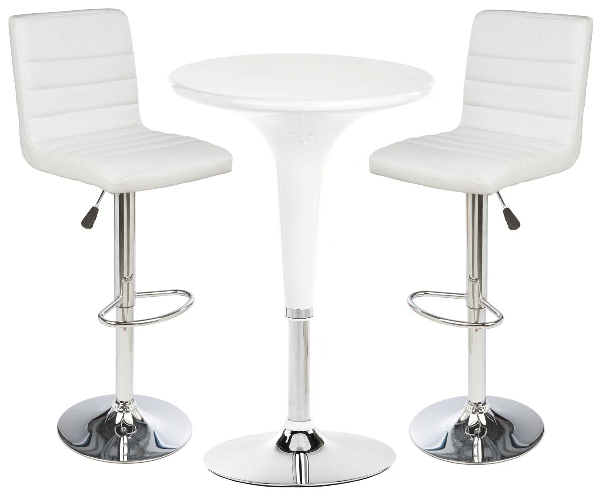 White Gas Lift Chair And Table Set 2 Height Adjustable