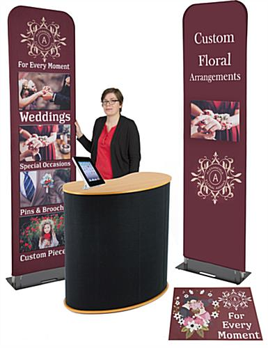 Economy banner display booth kit with custom graphics