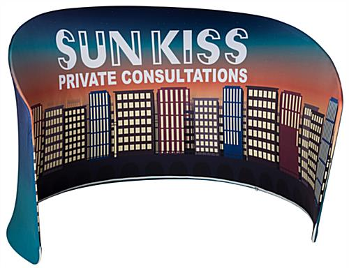 Curved display booth divider wall kit with large backdrop