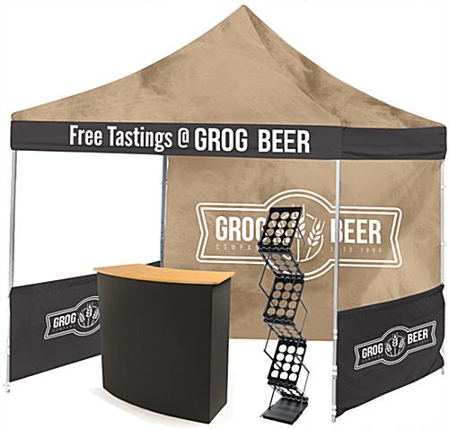 Outdoor booth setup with large format graphics
