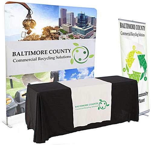 Banner and tabletop trade show package with custom graphics