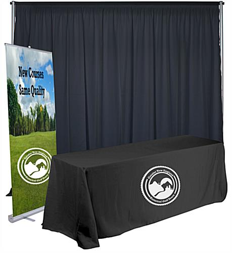 Economy exhibit booth furniture kit with 1-color imprint table throw