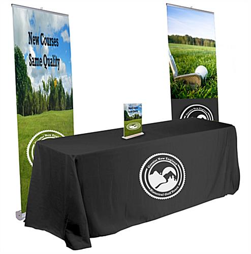 Pop up banner trade show kit with black table throw