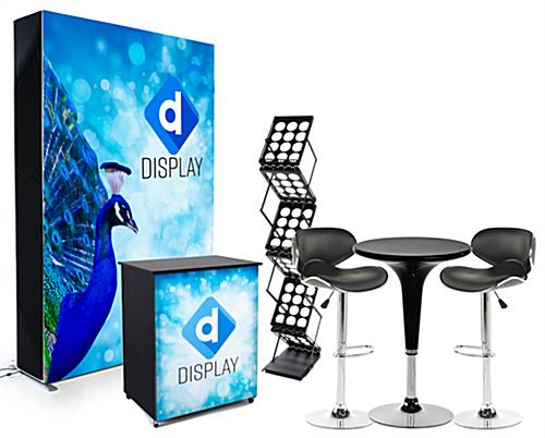 Trade show display kit with illuminated SEG single sided full color graphic backwall