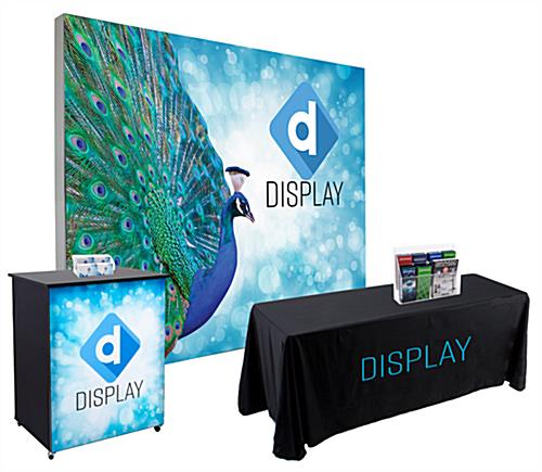 Silicone edge backdrop portable counter and tablecover with 10' trade show booth kit