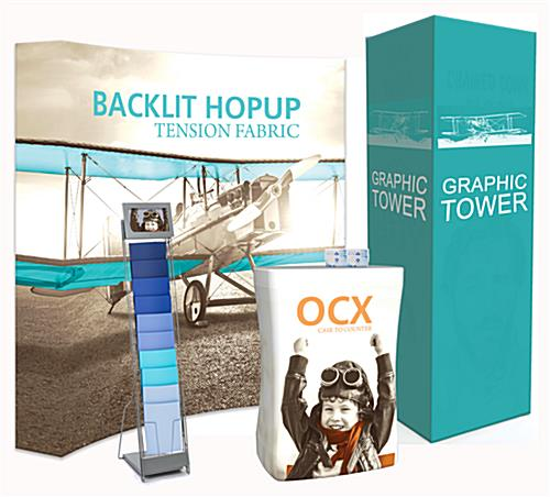 Graphic backwall and tower plus digital literature holder and business card case included in custom trade show display