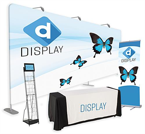 20' trade show package with 10 pieces including digital signage and custom printing