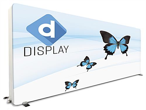 20ft booth with tv stand and zippered custom printed full color graphics on backlit wall