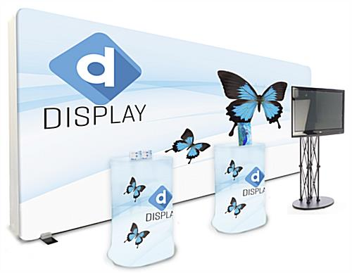 20ft booth with tv stand and printed lightbox backdrop with carry cases as counters
