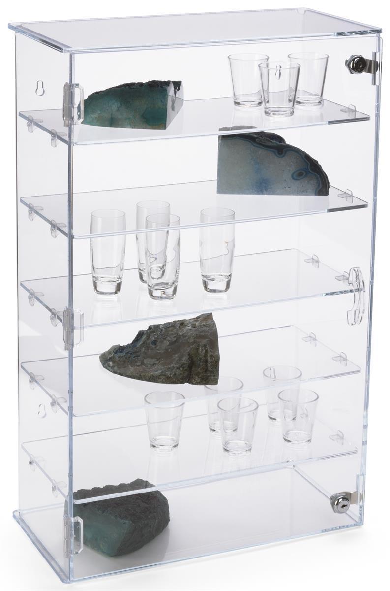 Workshop Series, Acrylic Countertop Display Case w/ 5 Shelves, Locking Door  - Clear