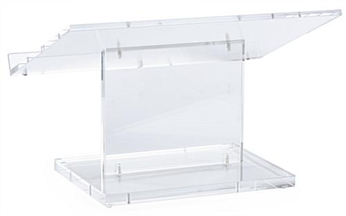 "Clear Tabletop Lectern has a 1.25"" Book Stop"
