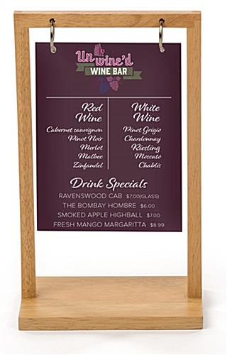 Flip top wood menu with custom printing