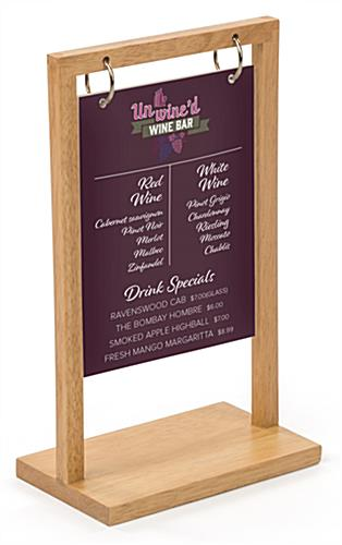 Flip top wood menu with double-sided custom graphics