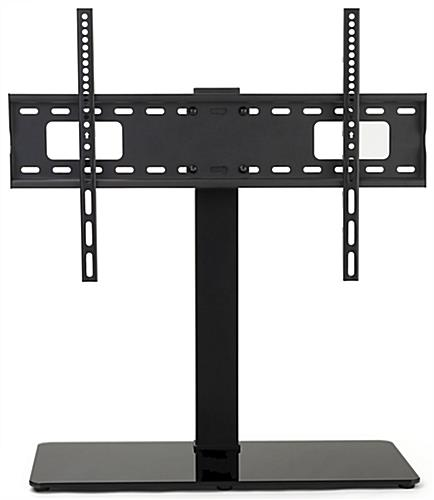 26 inch x 11 inch universal tabletop tv stand with a tempered glass base