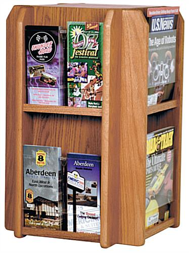 4-Sided Revolving Wood Magazine Rack