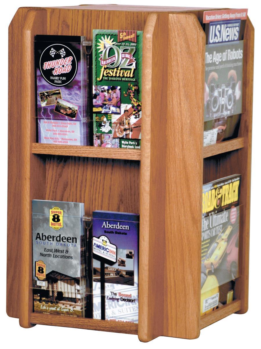 Revolving Wood Magazine Rack Medium Oak Literature Display