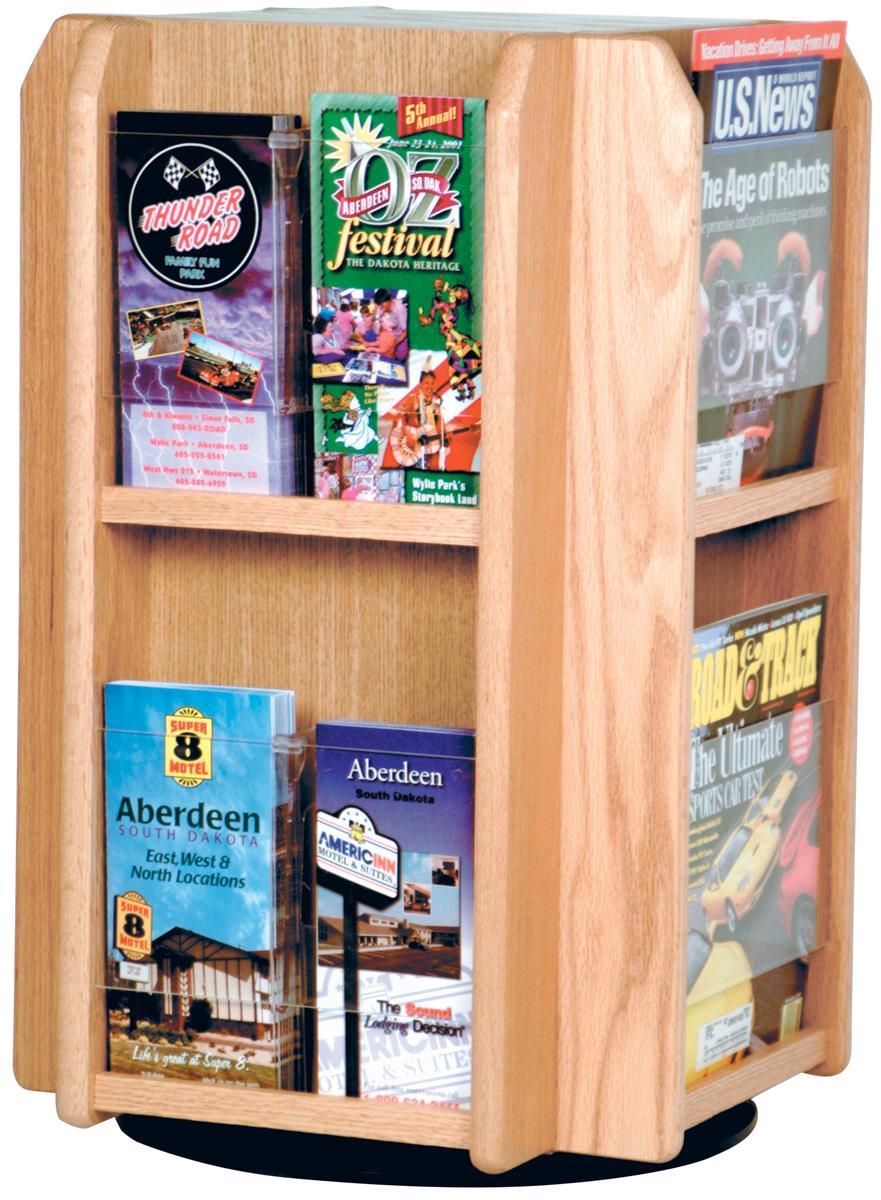 Wooden Literature Holder Rotating Countertop Brochure