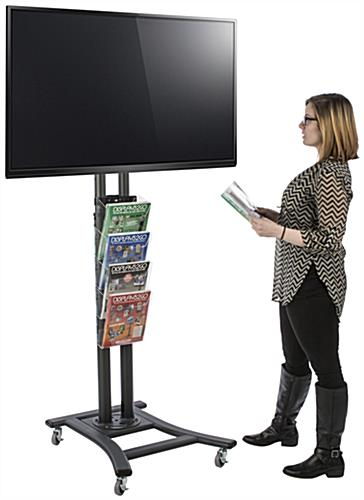 Black Plasma TV Stand with 4 Clear Literature Pockets, Adjustable