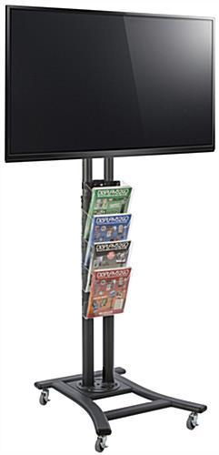 Black Plasma TV Stand with 4 Clear Literature Pockets, Acrylic